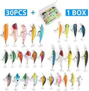 30 Kinds Of Fishing Lures Treble Hook Kit Minnow Crankbaits Baits With Case Us