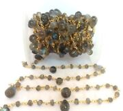 50 Feet Natural Labradorite Rondelle And Teardrop 3-4mm/5x7mm Beads Rosary Chain