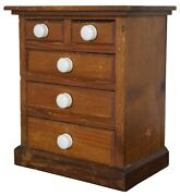 Antique Early American Miniature Pine Dresser Chest Of Drawers Doll Furniture