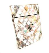 Victorian Antique Ladies Mother Of Pearl Calling Card Case / Wallet / Purse