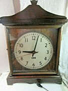 Vintage Ibm Mantle Clock, Working Condition Glass Front, Finial, Wooden Case