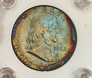 Outrageous Rainbow 1962-d- U.s. Ben Franklin Silver Half Dollar See Other Coins