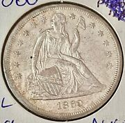 1860-o U.s. Silver Seated Liberty Half Dollar- See Other Rare Coins And Jewelry