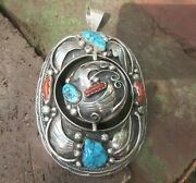 Huge Native American Silver Turquoise Rotating Pendant Signed Museum Quality