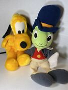 Vintage Jiminy Cricket And Pluto Plush Doll And Hand Puppets - Pinocchio Walt Disney
