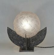 Large French 1930 Art Deco Lamp In Wrought Iron .................... France 1925