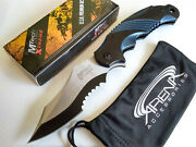 Discontinued Blue Mx-a801bl Serrated Spring Assisted Pocket Knife Flipper Edc