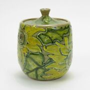 Shearwater Pottery Patricia Sunflower Floral Covand039d Jar 1992 Jim Anderson 6.75