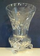 Vintage Cut Glass Vase With Intricate Diamond Shape Etchings Awesome Condition