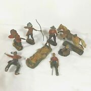 Elastolin Cowboys And Indians Vintage Lot Of 8 Toy Figurines Horse, Fire+ As Is