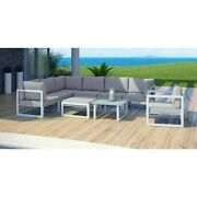 Modway Fortuna 9 Piece Outdoor Sofa Set In White And Gray