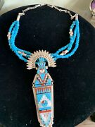 Zuni Raylan And Patty Edaakie Sleeping Beauty Turquoise Necklace Sterling Silver