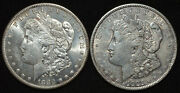 A Pair Us Morgan Silver Dollars 1880-s Unc And 1921 Vf Silver 1 Coins