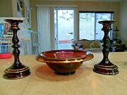 Lovely 3 Pc Tiffin Glass Amethyst Purple Console Set 2 Candles 1 Bowl 1920-30s