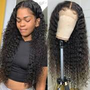 Womens Curly Full Lace Wigs Peruvian Human Hair 360 Lace Frontal Wigs Glueless P