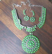 Native American Silver Gaspeite Cluster Necklace Earring Set Signed