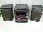 Aiwa Cx-nv3000u Compact 3disc Stereo Dual Cassette Receiver W/ Remote And Speakers