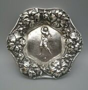 Unger Brothers Silver Dish Repoussandeacute Golfer And Floral Borderandnbspsterling Fine 925 0