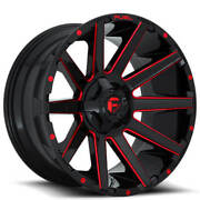 4 24x12 Fuel Wheels D643 Contra Gloss Black W Red Milled Off Road Rims B43