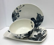 Kenneth Cole Reaction Etched Floral 3 Pc Serving Set, Blue. Salad Bowl And Trays