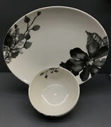 Kenneth Cole Reaction Etched Floral 2pc, Grey. Small Bowl And Oval Tray