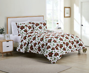 Kate Aurora Holiday Living 3 Piece Christmas Red Poinsettia Quilt Blanket Set