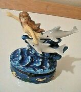 Stunning Gorgeous Mermaid Dolphin Trinket Box With Surprise Charms Fish And Shark