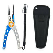 Aluminum Fishing Pliers Hook Remover Fishing Line Cutter With Lanyard And Holder