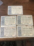 Antique German Currency 50000 Mark Notes Lot Of 5 - 1923