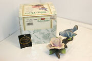 Andrea By Sadek Pink Rose With Bluebird Figurine With Box