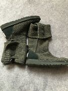 Ugg Cardy Knit Black Metallic Gold Boots Size 7 Us