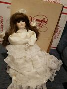 Handmade White Angel 6003 Tree Topper Glass Eyes Lace From Dolls By Jerri