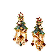 Statement Vtg Lunch At The Ritz Enameled Christmas Tree W/ Crystals - Earrings