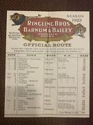 Ringling Brothers And Barnum And Bailey Circus Official Route Card - 1923
