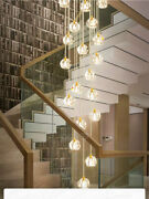Led Crystal Stair Chandelier Light Luxury Copper Dining Room Lamp Customized