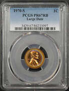 1970 Lincoln Cent Large Date Pcgs Pr-67rb Halo Rainbow