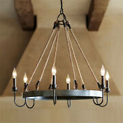 Farmhouse Rustic Rope Chandelier Round Iron Pendant Ceiling Light For Kitchen