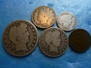 Estate Sale U.s. Silver Five Coin Collection Set 90 Silver Type Coins