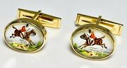 Vintage Essex Crystal Hunting Jumping Horse And Hound 14k Gold Cufflinks 10.43g