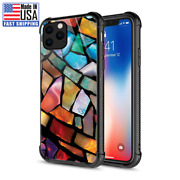 99.99iphone 11 Pro Case Stained Glass Mosaic Tempered Glass Back+soft Tpu