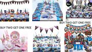 Childrenand039s Themed Birthday Decorations Tableware Cups Plates Napkins Card Invite