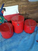 Vintage Lot Of 3 Coated Tin Berry Bucket/lunch Pail W/lid And Handle Red 9-6