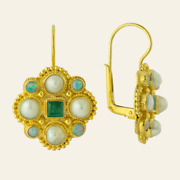 Lady Brighten Pearl, Emerald And Opal Earrings Museum Of Jewelry