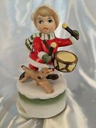 Child Red Santa Suit Playing Drum Vintage Music Box Christmas With Dog Taiwan