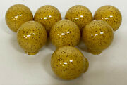Lot 8 X Round Orb Yellow Speckled Ceramic Cabinet Drawer Pulls/knobs Mid Century
