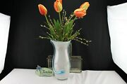Angelo Rossi / Fenton Art Glass French Opalescent Applied Teal Accent Tall Vase