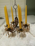 Jeweled Chandelier 6 Candle Holder Yellow Citrine Color