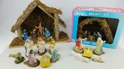 Vintage 60's Christmas Nativity Lot Plastic And Rubber Figures Made In Taiwan