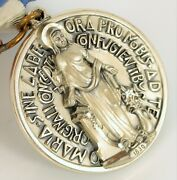 Antique Creed Sterling Silver Super High Relief Marian Award Medal Jesus Church