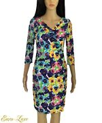 1990and039s Gianni Versace Signed Logo Multi Color Flower Dress It 40/ 2 4